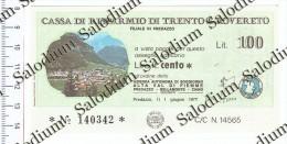 Cassa Di Risparmio Di Trento E Rovereto - Filiale Di PREDAZZO - Val Di Fiemme Bellamonte Ziano Dolomiti - MINIASSEGNI - [10] Checks And Mini-checks