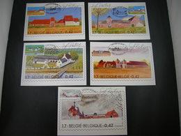 "BELG.2001 3017-21 FDC's Maxicards : "" Natuur - Grote Typische Boerderijen/Nature: Grandes Fermes Typiques "" - FDC"