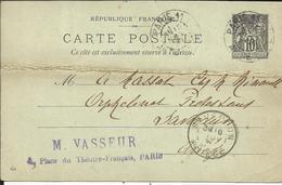 Entier Postal , 10 C , Type Sage , 1898 , N° YT 89 - CP4, Cachets De PARIS 11° ( Av. De L' Opéra ) , SAVERDUN - Entiers Postaux