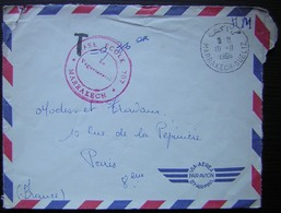 Maroc 1960 Base Ecole 707 Marrakech Gueliz, Cachet Rouge - Morocco (1956-...)