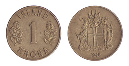 Iceland / 1946 / 1 Krona / KM 12 / XF - Islande