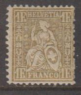 Switzerland 1881 Sitzende Helvetia 1fr Gold *  Mh /very Light Hinged (42728M) - Ongebruikt