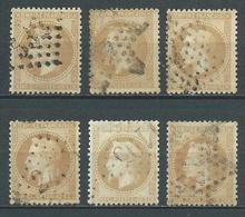 """FRANCE 1868 . Lot De 6 """" Napoléon III Lauré """" N° 28B . Oblitérés . - 1863-1870 Napoleon III With Laurels"""