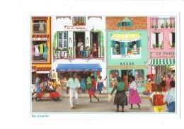 Cpm La Martinique : Fort De France : Rue Schoelcher Dessin D'Emilie Vespa Coiffeur Casque Séchoir Magasin Animation - Commercio