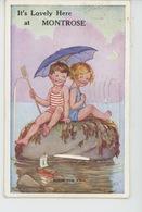 """ROYAUME UNI - ECOSSE - SCOTLAND - Jolie Carte à Système Enfants Sur Un Rocher """"It's Lovely Here At MONTROSE """" - Angus"""