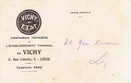 Carte Postale Publicitaire LIEGE 1926 - Compagnie Fermière De L'établissement Therml De VICHY 5 Rue Libotte à LIEGE - Publicité