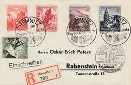 Env Reco Affr Michel 678 + 679 + 680 + 681 + 682 Obl CHEMNITZ Tag Der Briefmarke Du 8.1.39 Adressée à Rabenstein - Lettres & Documents