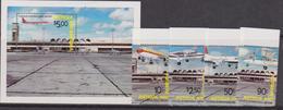 Antigua & Barbuda - Aviations Airport Airplanes Set+Sheet - Antigua And Barbuda (1981-...)