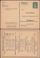 Privat GA-Postkarte, 1927 MiNr. P177 ZB (F) Marburg Lahn - Apotheker R. Knöbbiche, Stuttgart. - Ganzsachen
