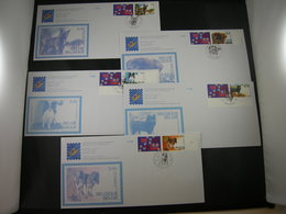 BELG.2002 3064 3065 3066 3067 3068 FDC's (Bruxs) : Chiens De Race Belges 100ste Verjaardag Van De Koninklijke Kynokogisc - FDC