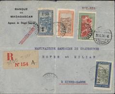 Lettre Banque Madagascar Agence Diego Suarez Recommandé CAD Diego S 1934 Arrivée Einod Sarre 20 8 34 YT 152 100 109 164 - Madagascar (1889-1960)
