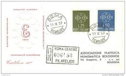 ITALIA - 1959 Europa Su FDC Capitolium Viaggiata RACCOMANDATA Con Timbro D'arrivo - F.D.C.
