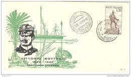 ITALIA - 1960 PARMA Cent.nascita Di VITTORIO BOTTEGO Esploratore Su FDC RE.RU.con Annullo Speciale E Targhetta Al Retro - F.D.C.