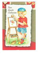 Cpm - Vive Sainte Catherine - Fillette Artiste Peintre Chevalet Pinceau  Palette Peintures - Firstnames