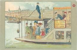 B Aux Grands Magasins Du Louvre, En Bateau-mouche - Publicité