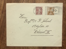 SWITZERLAND 1918 Cover Winterthur To Zurich With Cross Slogan Postmark - Covers & Documents