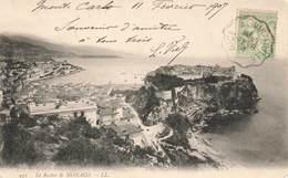 Monaco Le Rocher Cpa + Timbre Cachet Convoyeur Ambulant 19017 Nice à Vintimille - Non Classés