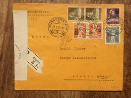 SWITZERLAND 1921 Registered Munchen Cover To Hochst Germany With Censor Tape - Suisse