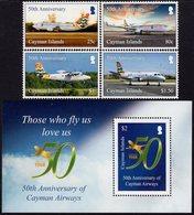 Cayman Islands - 2018 - 50th Anniversary Of Cayman Airways - Mint Stamp Set + Souvenir Sheet - Cayman Islands