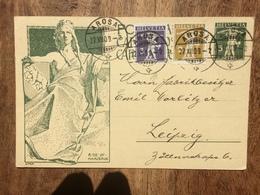 SWITZERLAND 1909 Postcard Arosa To Leipzig Germany Illustrated UPU - Switzerland