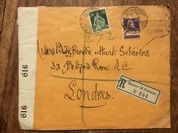 SWITZERLAND 1917 Cover Registered Geneve To London England With Censor Tape - Svizzera