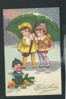 Fillettes Au Parapluie , Illustration Non Signée   -  Mbe66 - Cartoline Umoristiche