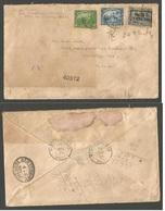HAITI. 1921 (23 March) Port Au Prince - USA, Galveston, Tex (6 April) Registered High Rate Multifkd Mixed Issues Envelop - Haiti
