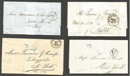 CUBA. 1860 - 74. Puerto Principo, Habana, Matanzas, Cienfuegos. 4 Complete EL Stampless Maritime To USA, NYC With Diff M - Non Classés