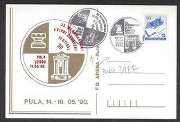 Chess, Yugoslavia Pula, 14.05.1990, 2 Different Hand Cancels & Cachet On Card, International Team Festival - Schach