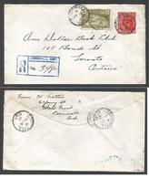 CANADA. 1947 (Feb 18) Cornwal, ONT - Toronto. Registered. 4c Red + 10c Adtl. VF. - Non Classificati