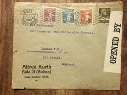 SWITZERLAND 1919 Cover Basel To London England With Censor Tape `Alfred Kurth` - Suisse
