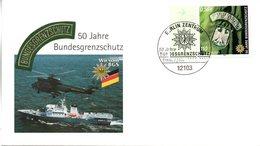 """BRD Schmuck-FDC """"50 Jahre Bundesgrenzschutz"""", Mi. 2175 ESSt 8..3.2001 BERLIN ZENTRUM - FDC: Buste"""