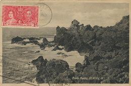 St Kitts Black Rocks  . P. Used 1938 To Cuba . Light Crease Bottom Right Corner - Saint-Christophe-et-Niévès