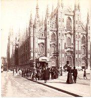 AK-1694/ Milano Il Domo Straßenbahn  Italien  Stereofoto V Alois Beer ~ 1900 - Stereoscopio