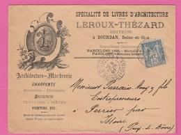 Dourdan - Leroux-Thézard - Editeur - Livres D'architecture  - Enveloppe Publicitaire - 1897 - Postmark Collection (Covers)