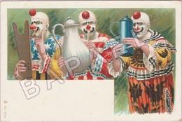 Trois Clowns Jouent Avec Des Instruments De Cuisine - Chromolithographie D'Oskar Roick (Recto-Verso) - Illustrateurs & Photographes