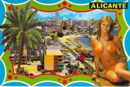 "PIN UP Vintage - ESPANA Espagne 70-80's - ALICANTE - Playa De "" LA ALBUFERETA "" CPSM GF - Sexy Nude Seins Nus Ou Bikini - Pin-Ups"