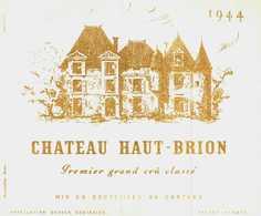 Etiquette Ancienne -  CHATEAU HAUT-BRION 1944 Premier Grand Cru Classé    Pessac Gironde - Bordeaux