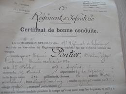 Certificat De Bonne Conduite 26/08/1694 17ème Régiment D'infanterie Pontier - Documents