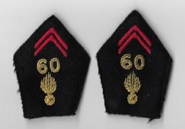 ECUSSON TISSU MILITAIRE 60° RI REGIMENT D' INFANTERIE - Chiffre Et Grenade En Fil Métallique - (La Paire) - Ecussons Tissu