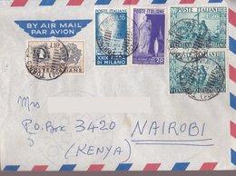 Aerogramma Diretto In Kenia Da Torino - 1951 - Fiera Milano - Centenario Columbiano - 6. 1946-.. Repubblica