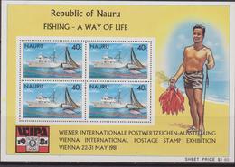 Nauru 1981 Vienna International Postage Stamp Exhibition Sheet MNH Ship / Fishing - Nauru