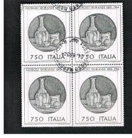 ITALIA  REPUBBLICA - CAT.UNIF.1961 - 1990 GIORGIO MORANDI  - IN  QUARTINA USATA (°) - 6. 1946-.. Republic