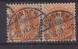 SUISSE : ZU . 94 A 30811 . PLANCHE REGRAVEE . PAIRE . OBL . AB . 1908 . - Used Stamps