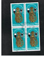 ITALIA  REPUBBLICA - CAT.UNIF.1971  - 1991 UNIVERSITA' DI SIENA  - IN  QUARTINA USATA (°) - 6. 1946-.. Repubblica