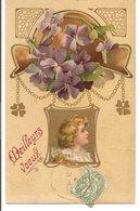 L120B026 - Meilleurs Voeux - Médaillon Suspendu, Violettes Et Trèfles  - Kopal N°662 - New Year