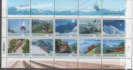 LIECHTENSTEIN, 2018, MNH, TRAINS, MOUNTAINS, SWISS MOUNTAIN TRAINS, SHEETLET - Trains
