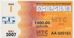 Bus Ticket Transportation Monthly Bus Ticket  Serbia Beograd,2007. Used - Season Ticket
