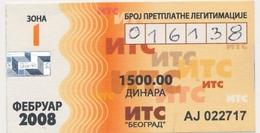 Bus Ticket Transportation Monthly Bus Ticket  Serbia Beograd,2008. Used - Season Ticket