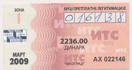 Bus Ticket Transportation Monthly Bus Ticket  Serbia Beograd,2009. Used - Season Ticket